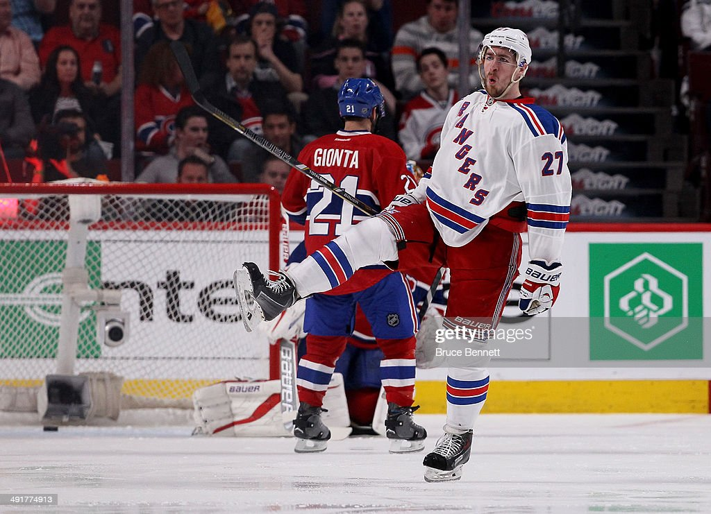 Ryan McDonagh #27 of the New York Rangers celebrates after scoring a third period goal against the Montreal Canadiens in Game One of the Eastern Conference Finals of the 2014 NHL Stanley Cup Playoffs at the Bell Centre on May 17, 2014 in Montreal, Canada.