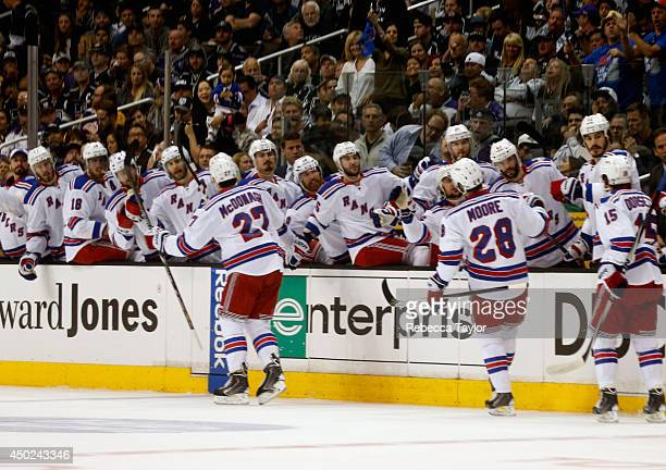 Ryan McDonagh of the New York Rangers celebrates his goal against the Los Angeles Kings with teammates during the first period of Game Two of the...