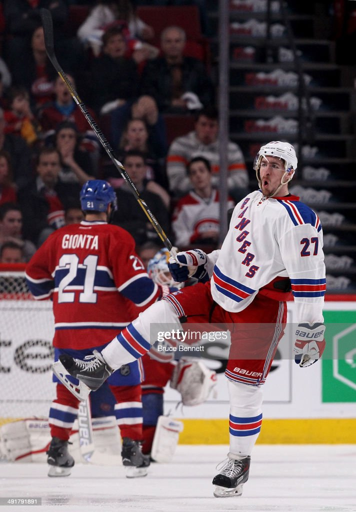 Ryan McDonagh #27 of the New York Rangers celebrates with teammates after scoring a third period power play goal against the Montreal Canadiens in Game One of the Eastern Conference Finals of the 2014 NHL Stanley Cup Playoffs at the Bell Centre on May 17, 2014 in Montreal, Canada.