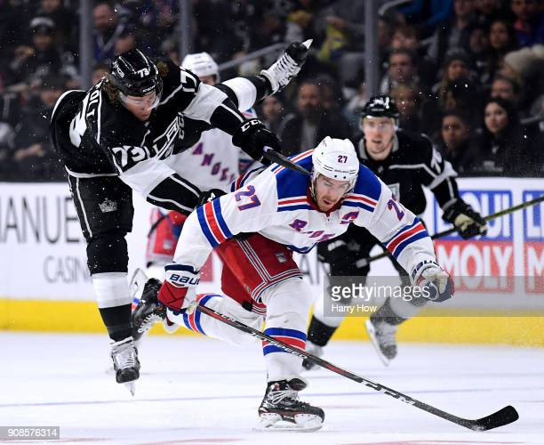 Ryan McDonagh of the New York Rangers checks Tyler Toffoli of the Los Angeles Kings during the second period at Staples Center on January 21 201 in...