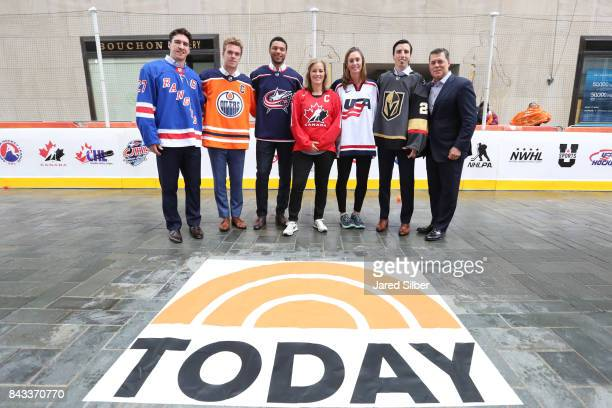 Ryan McDonagh of the New York Rangers Connor McDavid of the Edmonton Oilers Seth Jones of the Columbus Blue Jackets Cassie CampbellPascall AJ Mleczko...