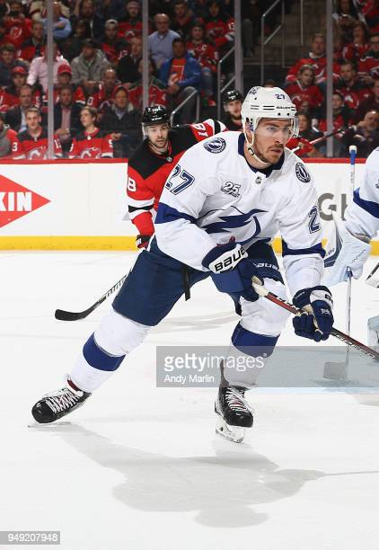 Ryan McDonagh of the Tampa Bay Lightning skates against the New Jersey Devils in Game Four of the Eastern Conference First Round during the 2018 NHL...