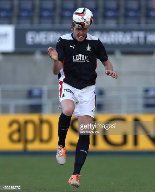 Ryan McGeever of Falkirk controls the ball during the Stirlingshire Cup Final match between Falkirk and Stirling Albion at The Falkirk Stadium on...
