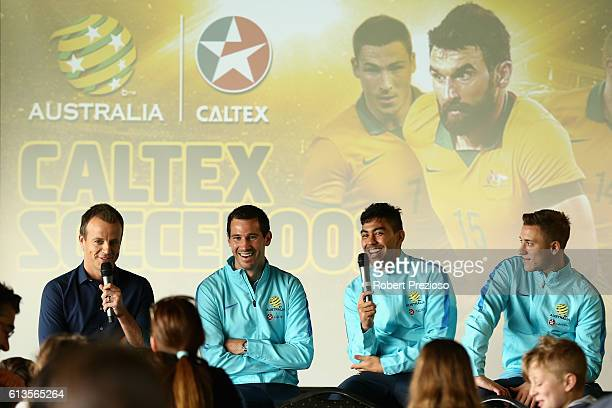 Ryan McGowan Massimo Luongo and Alex Gersbach speak after a coaching clinic during the Caltex Socceroos Fan Day at North Port Oval on October 9 2016...
