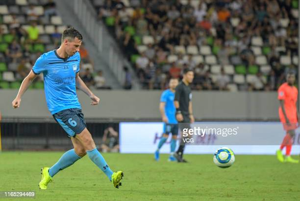 Ryan Mcgowan of Sydney FC drives the ball during the International Super Cup Suzhou Match between Paris Saint-Germain and Sydney FC at Suzhou Olympic...