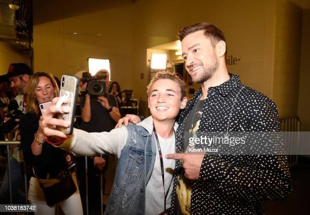 Ryan McKenna aka 'Selfie Kid' and Justin Timberlake attend the 2018 iHeartRadio Music Festival at TMobile Arena on September 22 2018 in Las Vegas...