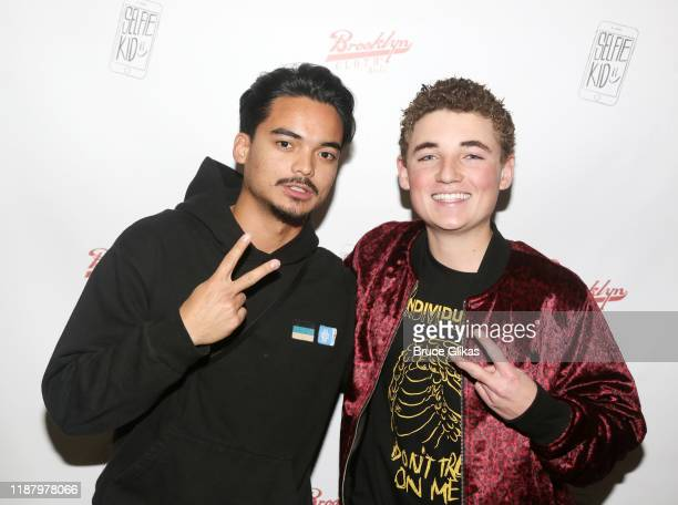 Ryan McKenna aka The Selfie Kid and guest pose during a launch event promoting his Selfie Kid X Brooklyn Cloth Limited Edition TShirt Collaboration...
