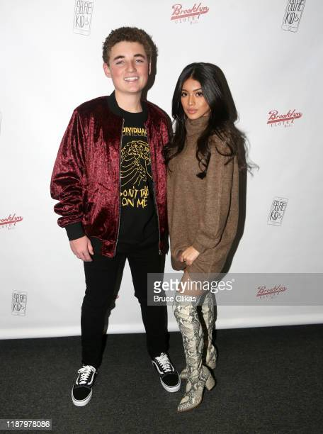 Ryan McKenna aka The Selfie Kid and Influencer Jocelyn Delgado pose during a launch event promoting his Selfie Kid X Brooklyn Cloth Limited Edition...