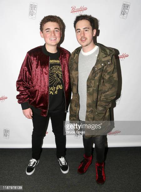 Ryan McKenna aka The Selfie Kid and Z100/iHeart Media's Music Coordinator Joe Brady Blum pose during a launch event promoting his Selfie Kid X...