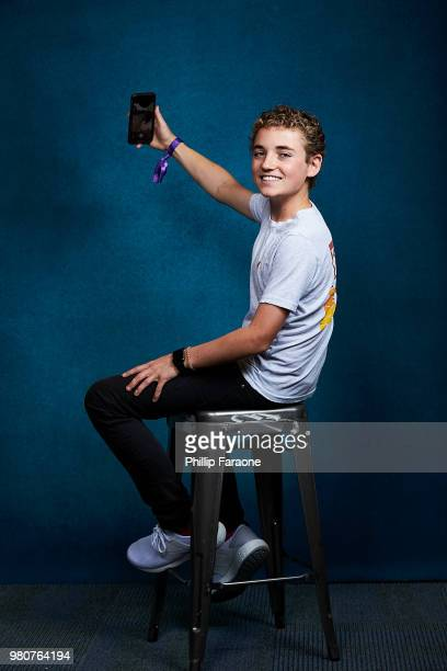 Ryan Mckenna aka 'The Selfie Kid' poses for a portrait at the Getty Images Portrait Studio at the 9th Annual VidCon US at Anaheim Convention Center...