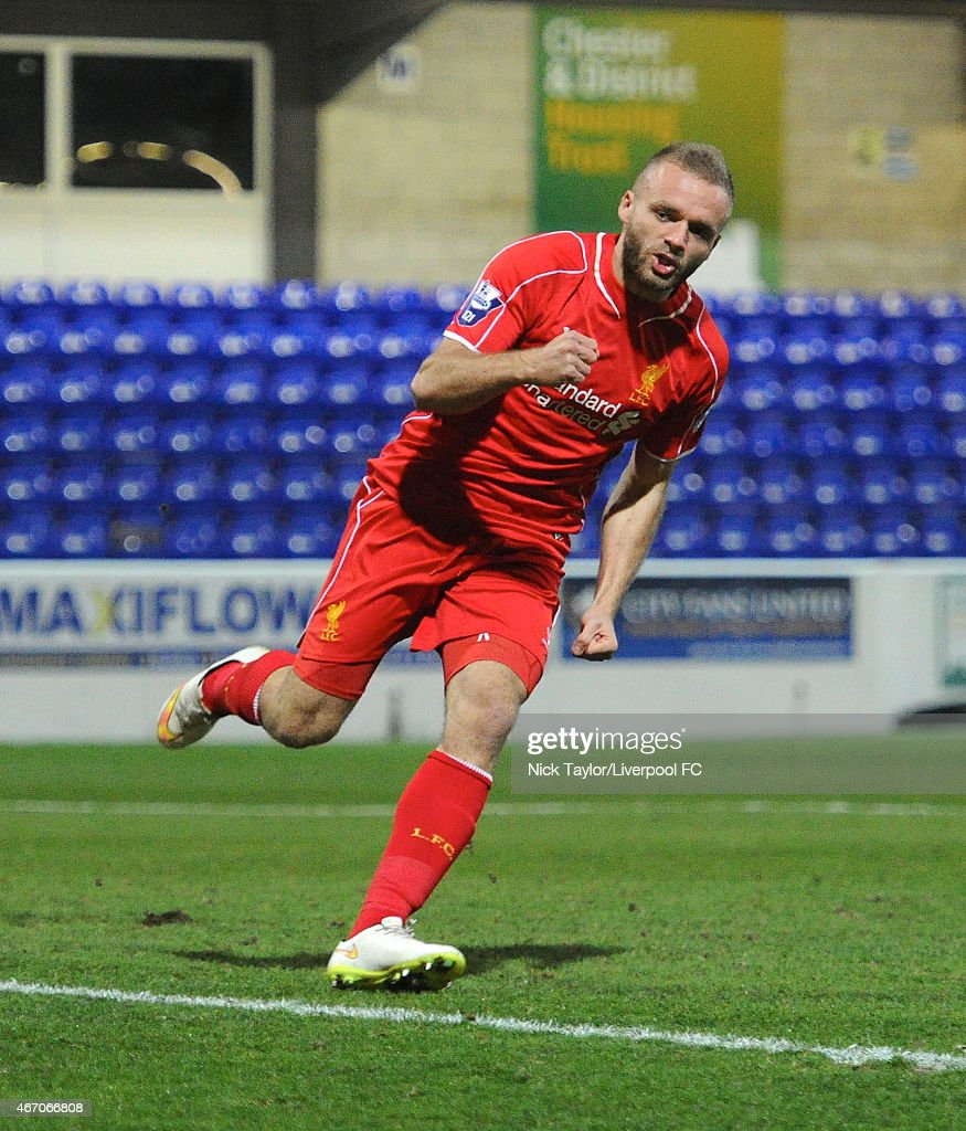 Ryan McLaughlin of Liverpool celebrates his goal during the U21 Premier League game between Liverpool and West Ham United at The Swansway Chester Stadium on March 20, 2015 in Chester, England.