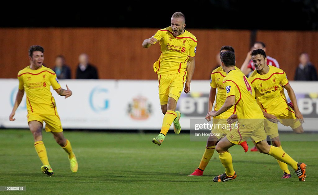 Ryan McLaughlin of Liverpool (C) celebrates scoring the only goal during the Barclays U21 Premier League match between Sunderland U21 and Liverpool U21 at Eppleton Colliery Welfare ground on August 19, 2014 in Hetton Le Hole, England.