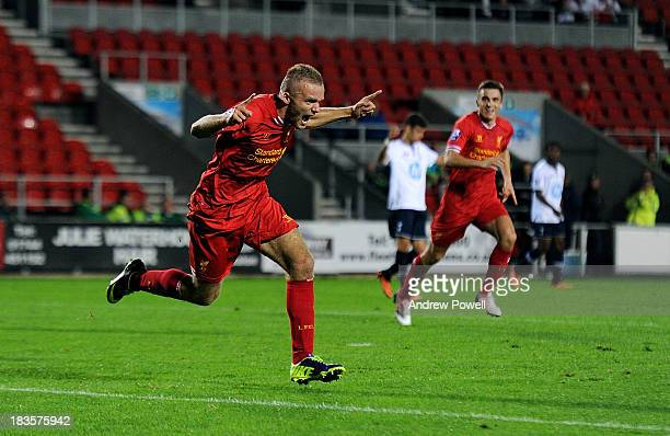 Ryan McLaughlin of Liverpool U21 celebrates after scoring the thrid during the Barclays Premier U21 League match between Liverpool U21 and Tottenham...