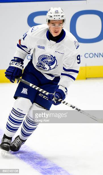 Ryan McLeod of the Mississauga Steelheads skates in warmup prior to a game against the Barrie Colts on December 8, 2017 at Hershey Centre in...