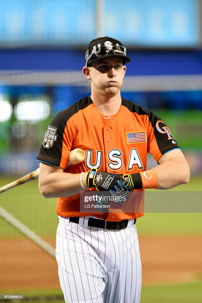 Ryan McMahon #9 of Team USA looks on during batting practice prior to the SirusXM All-Star Futures Game at Marlins Park on Sunday, July 9, 2017 in Miami, Florida.
