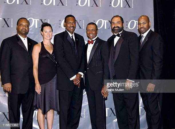 Ryan McNeil Editor of OverTime Magazine with OT X Award recipients Don Coleman Jennifer Azzi Junior Bridgeman Gale Sayers and Franco Harris