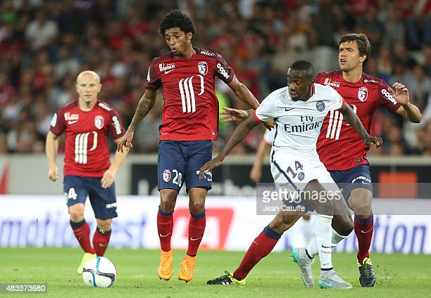 Ryan Mendes of Lille and Blaise Matuidi of PSG in action during the French Ligue 1 match between Lille OSC and Paris SaintGermain at Grand Stade...
