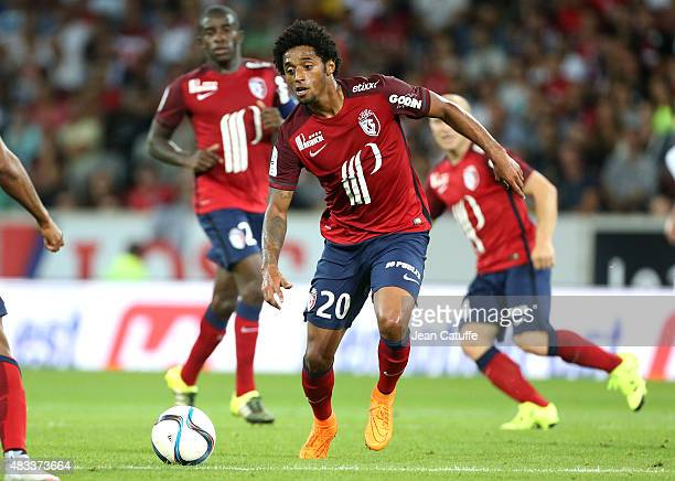 Ryan Mendes of Lille in action during the French Ligue 1 match between Lille OSC and Paris SaintGermain at Grand Stade Pierre Mauroy on August 7 2015...