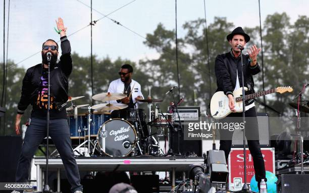 Ryan Merchant and Sebu Simonian of Capital Cities perform at Which Stage during day 4 of the 2014 Bonnaroo Arts And Music Festival on June 15, 2014...