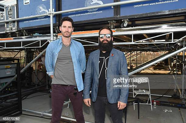 Ryan Merchant and Sebu Simonian of Capital Cities pose at the Drop Your Pants and Dance for Underwareness Concert, hosted by Depend on August 6, 2014...