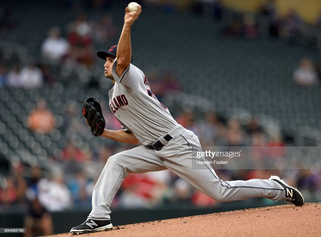 Ryan Merritt #54 of the Cleveland Indians delivers a pitch against the Minnesota Twins during the first inning in game two of a doubleheader on August 17, 2017 at Target Field in Minneapolis, Minnesota.