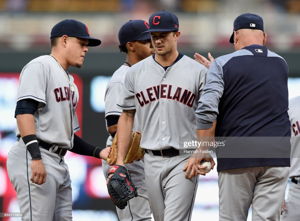 Ryan Merritt #54 of the Cleveland Indians is pulled from game two of a doubleheader against the Minnesota Twins by manager Terry Francona #17 during the fourth inning on August 17, 2017 at Target Field in Minneapolis, Minnesota.
