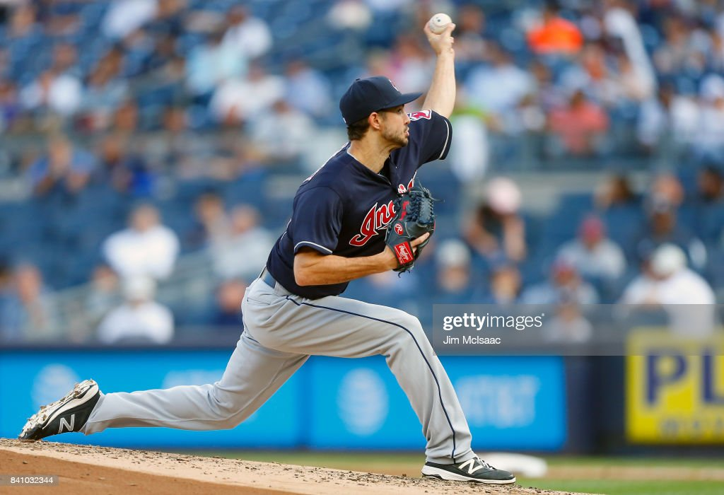 Ryan Merritt #54 of the Cleveland Indians pitches in the first inning against the New York Yankees in the second game of a doubleheader at Yankee Stadium on August 30, 2017 in the Bronx borough of New York City.