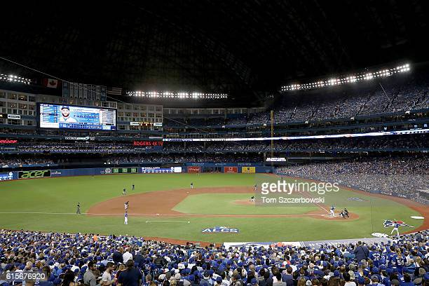 Ryan Merritt of the Cleveland Indians throws a pitch to Russell Martin of the Toronto Blue Jays in the second inning during game five of the American...