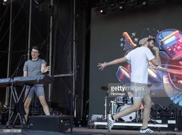 Ryan Met Adam Brett Met and Jack Evan Met of AJR perform on Downtown Stage during the 2018 Life Is Beautiful Festival on September 22 2018 in Las...