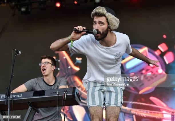 Ryan Met and Jack Evan Met of AJR perform during the 2018 Life is Beautiful Festival on September 22 2018 in Las Vegas Nevada
