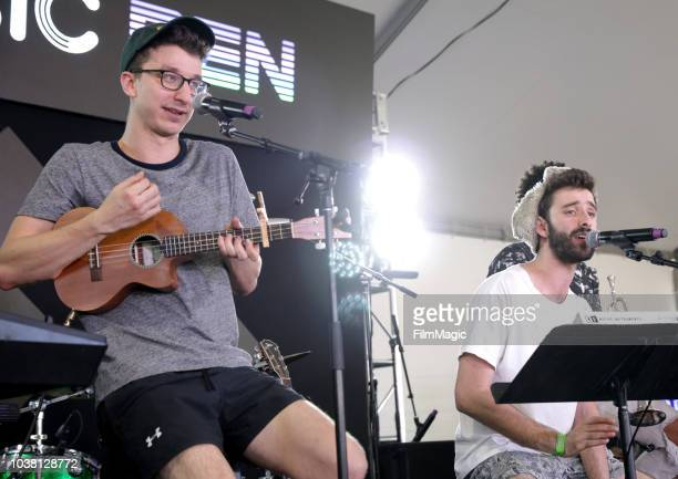 Ryan Met and Jack Evan Met of AJR perform onstage at the Toyota Music Den during the 2018 Life Is Beautiful Festival on September 22 2018 in Las...