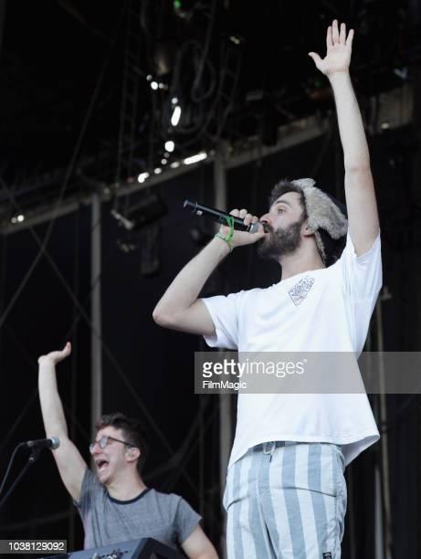 Ryan Met and Jack Evan Met of AJR performs on Downtown Stage during the 2018 Life Is Beautiful Festival on September 22 2018 in Las Vegas Nevada