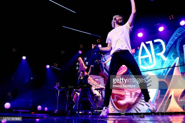 Ryan Met and Jack Met of the band AJR perform on stage during the KROQ Absolut Almost Acoustic Christmas at The Forum on December 8 2018 in Inglewood...