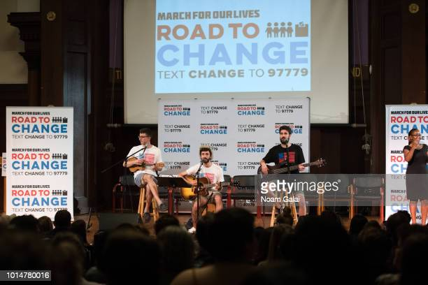 Ryan Met Jack Evan Met and Adam Brett Met of AJR perform at March For Our Lives' 'Road To Change' town hall on August 10 2018 in New York City