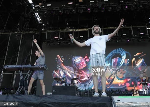 Ryan Met Jack Evan Met and Adam Brett Met of AJR perform on Downtown Stage during the 2018 Life Is Beautiful Festival on September 22 2018 in Las...