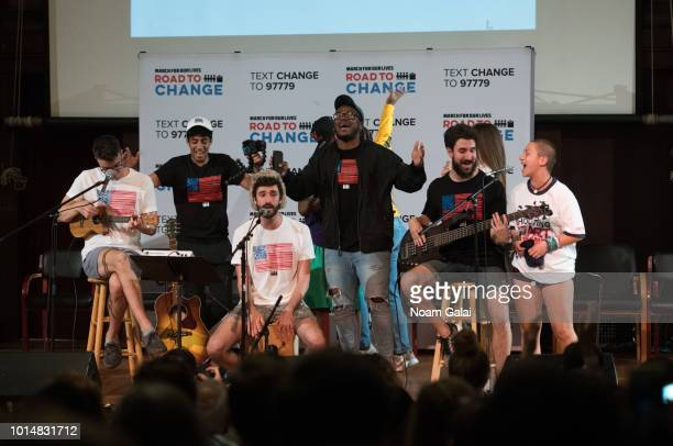 Ryan Met Jack Evan Met and Adam Brett Met of AJR perform with student activists at March For Our Lives' 'Road To Change' town hall on August 10 2018...