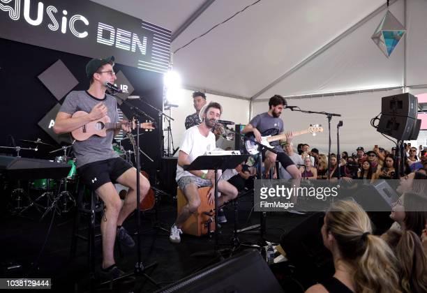 Ryan Met Jack Evan Met JJ Kirkpatrick and Adam Brett Met of AJR perform onstage at the Toyota Music Den during the 2018 Life Is Beautiful Festival on...