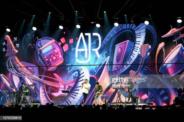 Ryan Met Jack Met and Adam Met of the band AJR perform on stage during the KROQ Absolut Almost Acoustic Christmas at The Forum on December 8 2018 in...