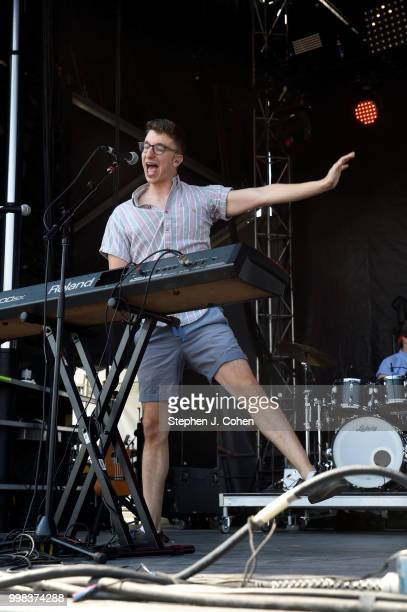 Ryan Met of AJR performs during the 2018 Forecastle Music Festival on July 13 2018 in Louisville Kentucky