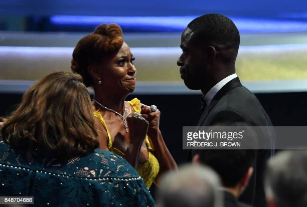 Ryan Michelle Bath reacts as her husband Sterling K Brown wins the award for Outstanding Lead Actor in a Drama Series for 'This is Us' during the...