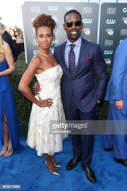 Ryan Michelle Bathe and actor Sterling K Brown attend Moet Chandon celebrate The 23rd Annual Critics' Choice Awards at Barker Hangar on January 11...