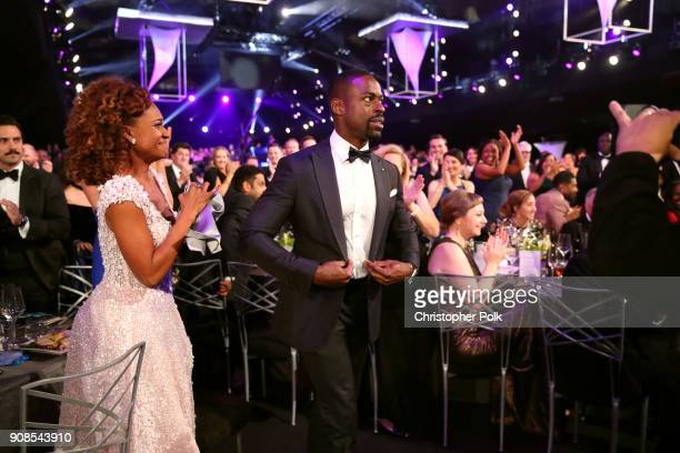 Ryan Michelle Bathe and actor Sterling K Brown attend the 24th Annual Screen Actors Guild Awards at The Shrine Auditorium on January 21 2018 in Los...