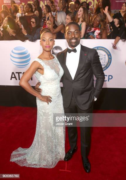 Ryan Michelle Bathe and Sterling K Brown attend the 49th NAACP Image Awards at Pasadena Civic Auditorium on January 15 2018 in Pasadena California