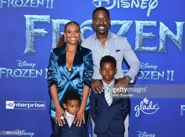Ryan Michelle Bathe and Sterling K Brown with children attend the premiere of Disney's Frozen 2 at Dolby Theatre on November 07 2019 in Hollywood...