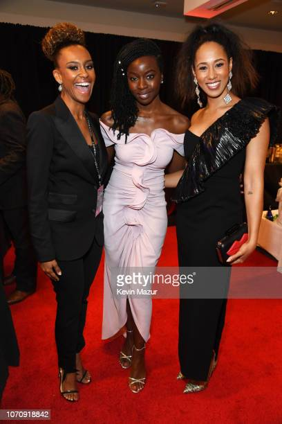 Ryan Michelle Bathe Danai Gurira and Margot Bingham pose backstage during the 12th Annual CNN Heroes An AllStar Tribute at American Museum of Natural...