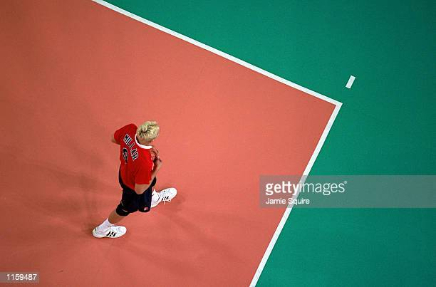 Ryan Millar of the United States walks on the court during the Olympic Men's Indoor Volleyball competition at the Sydney Entertainment Center in...