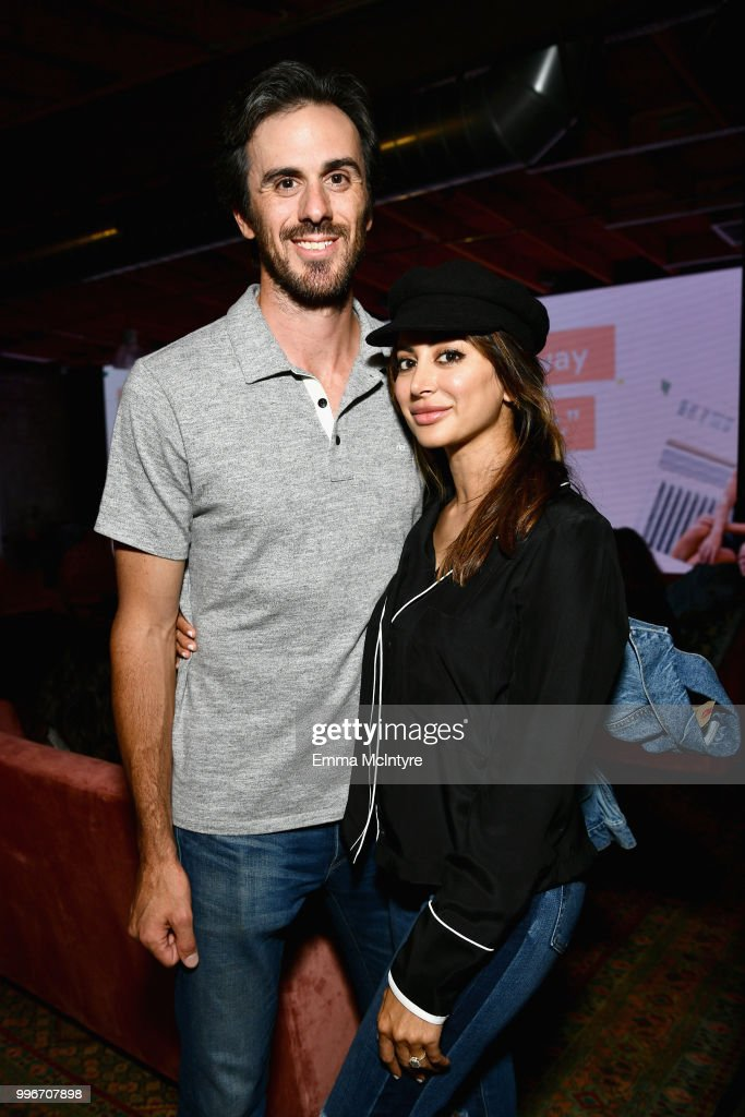 Ryan Miller and Noureen DeWulf attend the Finery App launch party hosted by Brooklyn Decker at Microsoft Lounge on July 11, 2018 in Culver City, California.