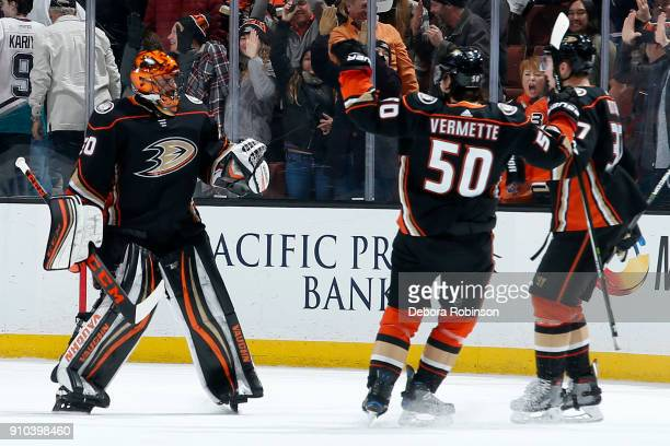 Ryan Miller Antoine Vermette and Nick Ritchie of the Anaheim Ducks celebrate their 43 win in the shootout over the Winnipeg Jets on January 25 2018...