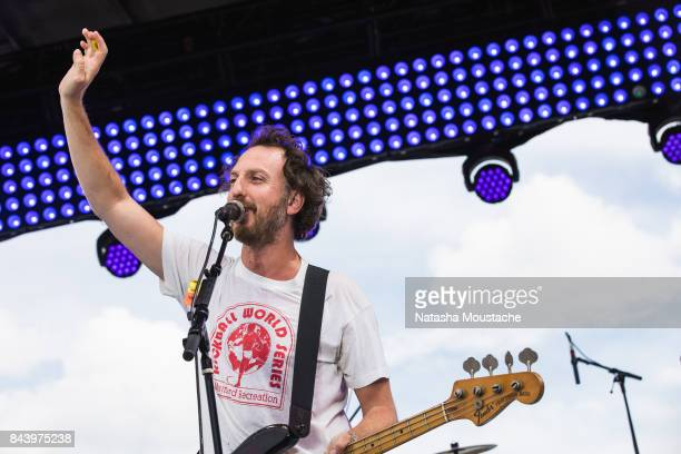Ryan Miller of Guster performs onstage during the NFL KickOff Concert at Christopher Columbus Park on September 7 2017 in Boston Massachusetts