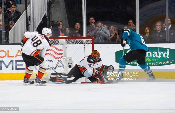 Ryan Miller of the Anaheim Ducks defends the net against Joe Pavelski of the San Jose Sharks at SAP Center on November 4 2017 in San Jose California